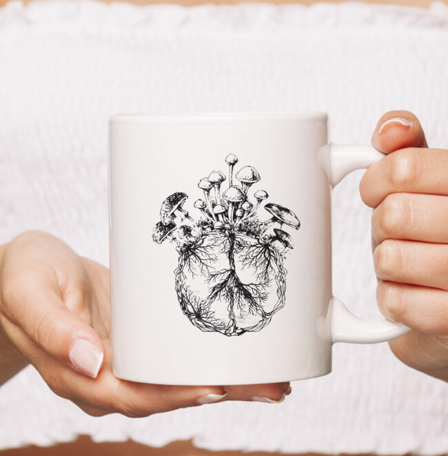 Funny Mycologist Mushroom Lover Gift Mycology Hippie Peace Premium mug 1