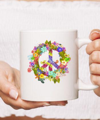 Peace Sign Hippie Wreath CoffeeMug Boho Hippie Gift PEACE & LOVE Mug 4