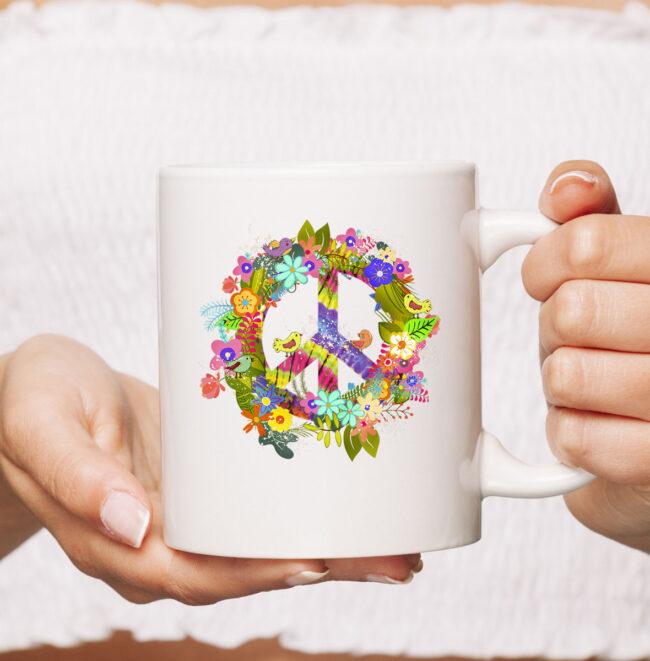 Peace Sign Hippie Wreath CoffeeMug Boho Hippie Gift PEACE & LOVE Mug 2