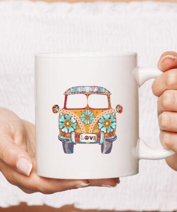 Vintage 1960s Hippie Micro Bus Van Gift Mug 4