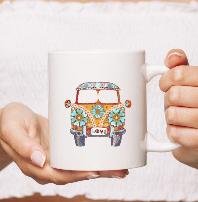 Vintage 1960s Hippie Micro Bus Van Gift Mug 2