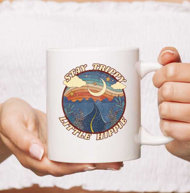 Stay Trippy Little Hippie Funny Peace Love Hippy Gift Mug 2