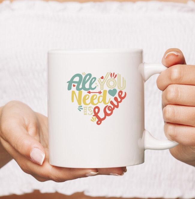 All You Need is Love Valentines Day mug Women Girls Heart mug 1