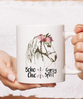 Cute Horse Lover CoffeeMug Boho Hippie Western Equestrian Ladies Mug 4