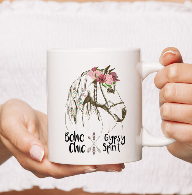 Cute Horse Lover CoffeeMug Boho Hippie Western Equestrian Ladies Mug 2
