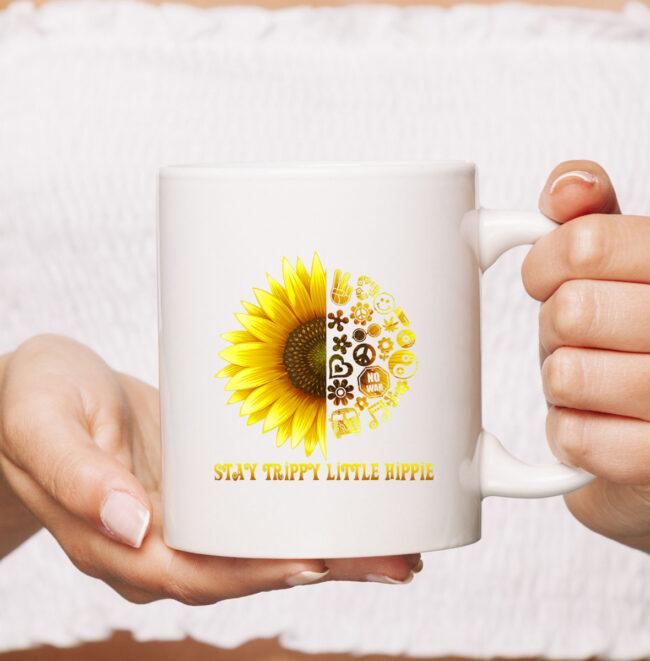 Stay Trippy Little Hippie CoffeeMug | 70s Hippie White mug Mug 2