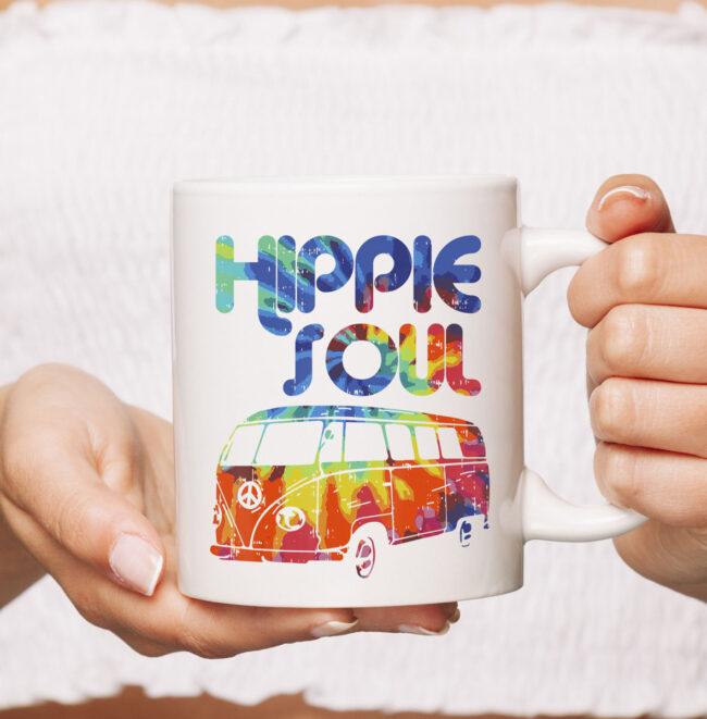 Hippie Soul Van Bus Vintage Retro Tie Dye Psychedelic Hippy Mug 2