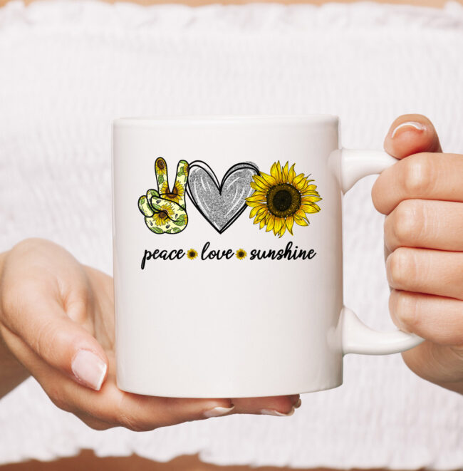 Peace Love Sunshine Sunflower Hippie mug 1