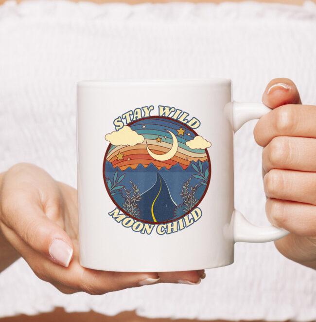 Vintage Retro Stay Wild Moon Child Boho Peace Hippie Gift mug 1