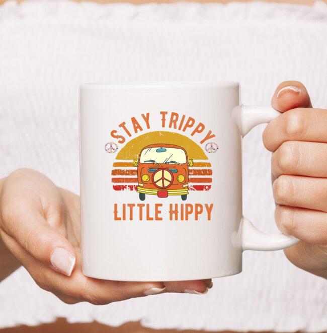 Stay Trippy Little Hippy   Peace Hippie Van Retro Vintage Mug 2