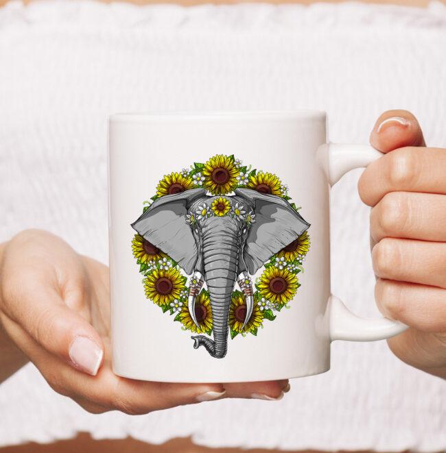 Elephant Sunflowers Funny Animal Hippie Women Girls Kids mug 1