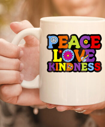 HIPPIE mug PEACE LOVE KINDNESS Tie Dye Halloween Mug 4