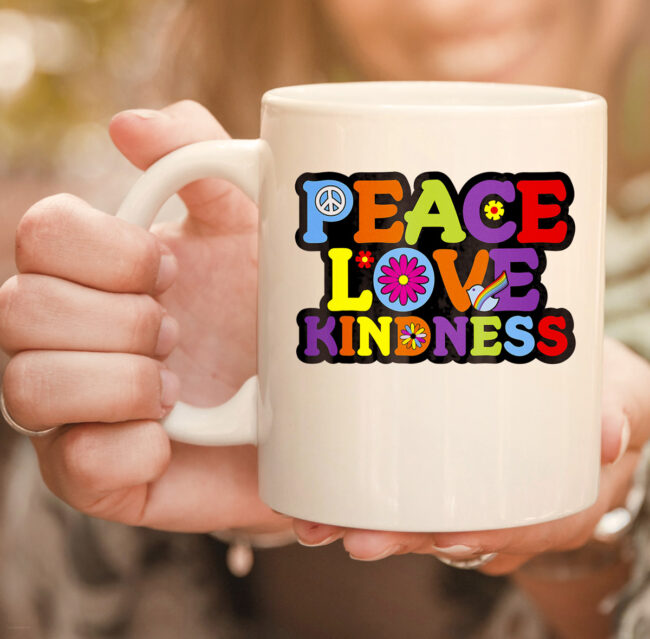 HIPPIE mug PEACE LOVE KINDNESS Tie Dye Halloween Mug 2