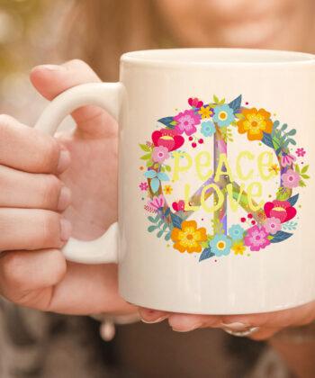Peace Love mug Hippie Mug Tie Die 60s 70s 4
