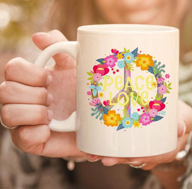 Peace Love mug Hippie Mug Tie Die 60s 70s 2