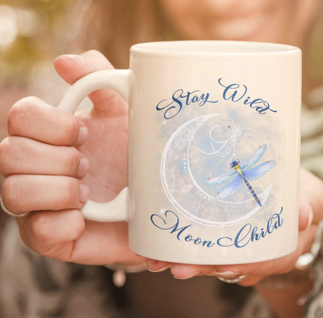 Stay Wild Moon Child-Dragonfly Hippie Gift mug 2