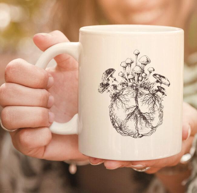 Funny Mycologist Mushroom Lover Gift Mycology Hippie Peace Premium mug 2