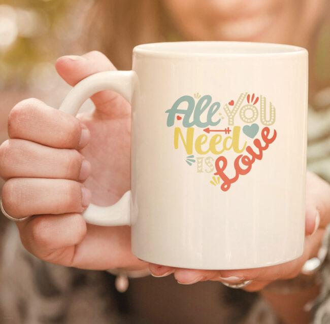 All You Need is Love Valentines Day mug Women Girls Heart mug 2