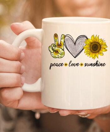 Peace Love Sunshine Sunflower Hippie mug 4