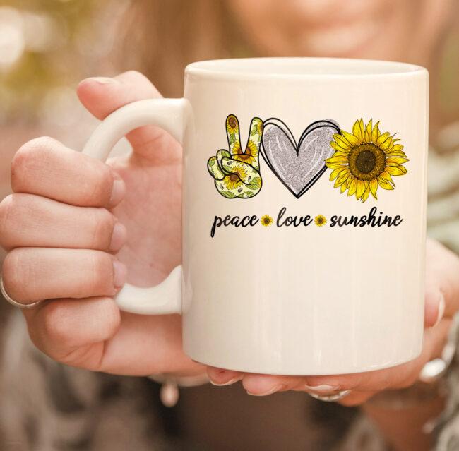 Peace Love Sunshine Sunflower Hippie mug 2