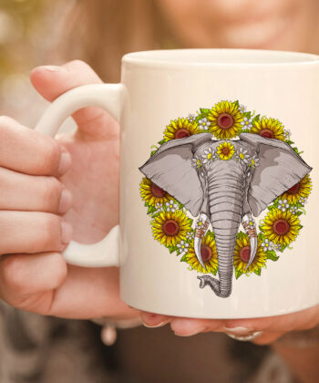 Elephant Sunflowers Funny Animal Hippie Women Girls Kids mug 4