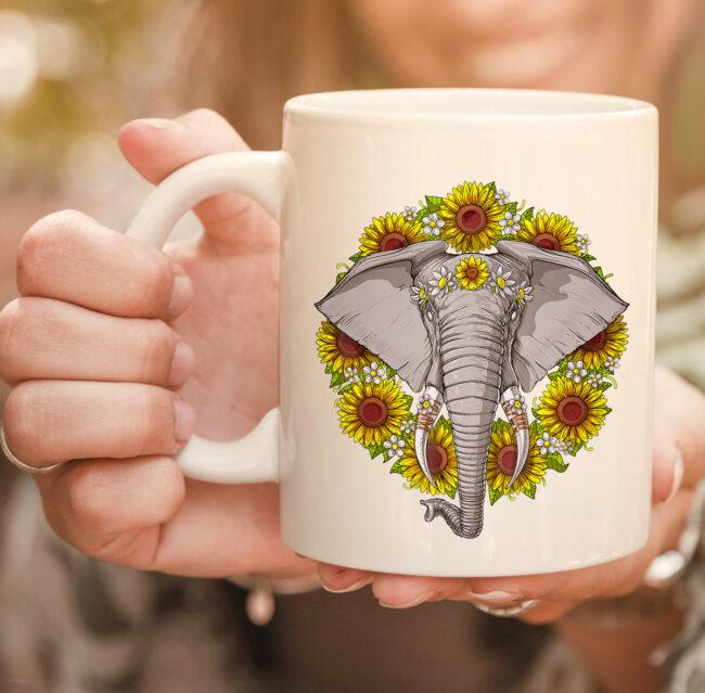 Elephant Sunflowers Funny Animal Hippie Women Girls Kids mug 2