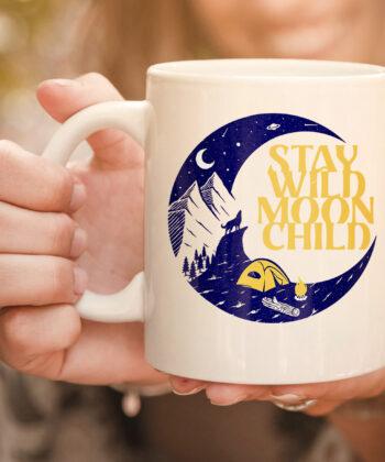 Vintage Retro Stay Wild Moon Child Boho Peace Hippie Gift mug 4