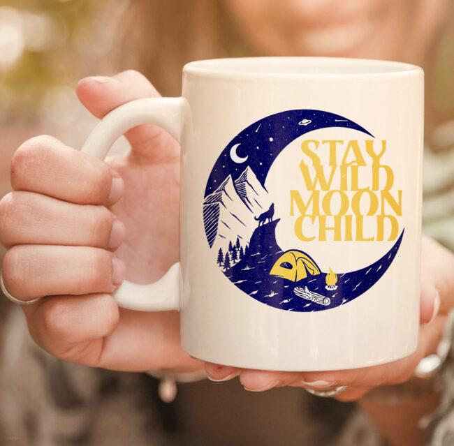 Vintage Retro Stay Wild Moon Child Boho Peace Hippie Gift mug 2