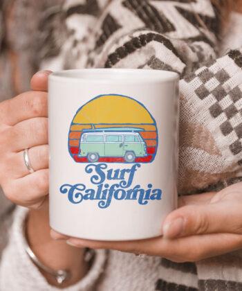 Retro California Hippie Van Groovy Beach Bum Surfer Graphic Mug 5