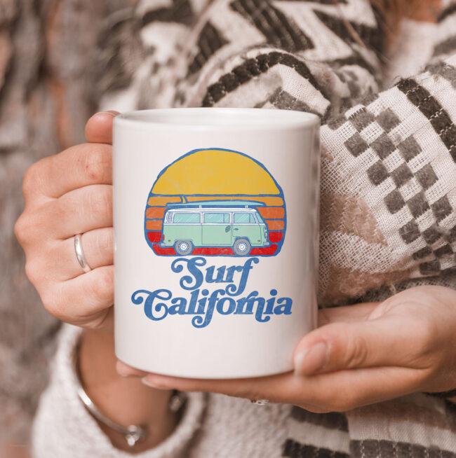 Retro California Hippie Van Groovy Beach Bum Surfer Graphic Mug 3
