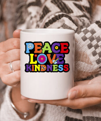 HIPPIE mug PEACE LOVE KINDNESS Tie Dye Halloween Mug 5