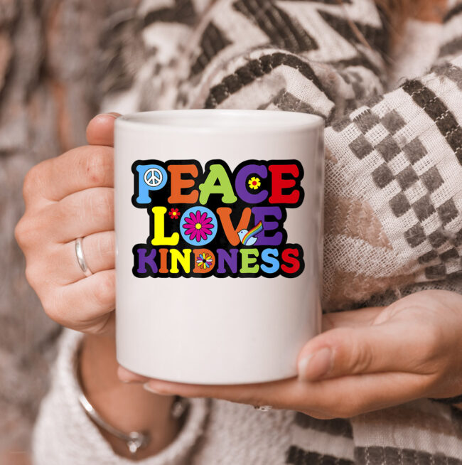 HIPPIE mug PEACE LOVE KINDNESS Tie Dye Halloween Mug 3