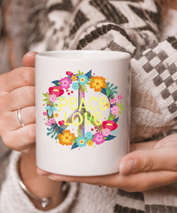 Peace Love mug Hippie Mug Tie Die 60s 70s 5