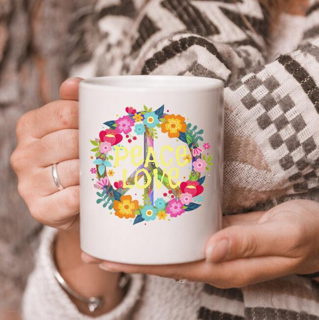 Peace Love mug Hippie Mug Tie Die 60s 70s 3