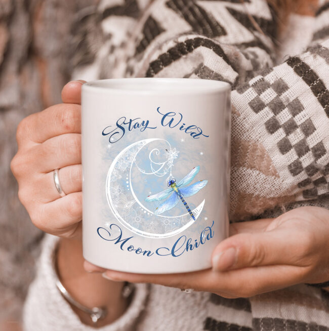 Stay Wild Moon Child-Dragonfly Hippie Gift mug 3