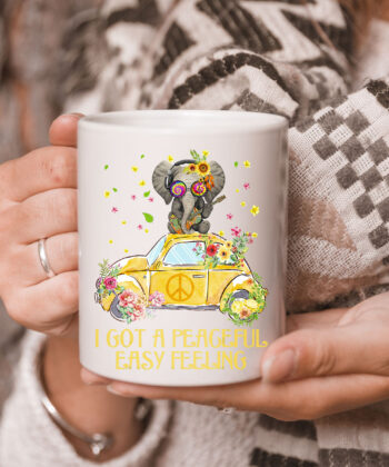 I Got A Peaceful Easy Feeling Funny Elephant Hippie Mug 5