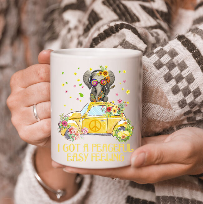 I Got A Peaceful Easy Feeling Funny Elephant Hippie Mug 3