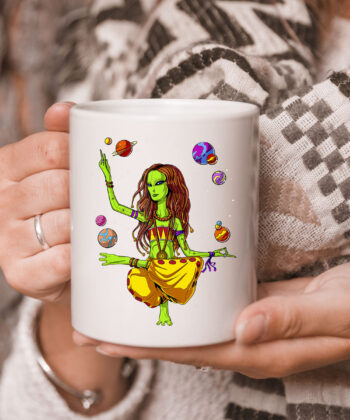 Space Alien Hippie Yoga Zen Meditation Psychedelic Women Mug 5