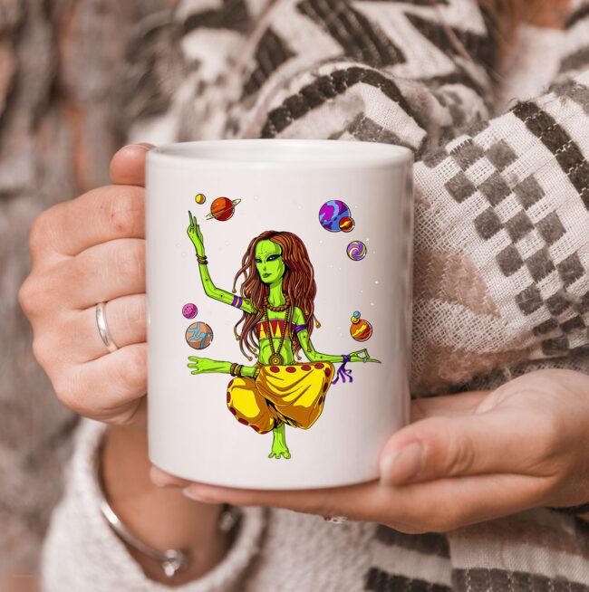Space Alien Hippie Yoga Zen Meditation Psychedelic Women Mug 3