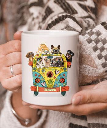 Funny Peace Love Dogs Hippie Van CoffeeMugs Summer Gifts Mug 5