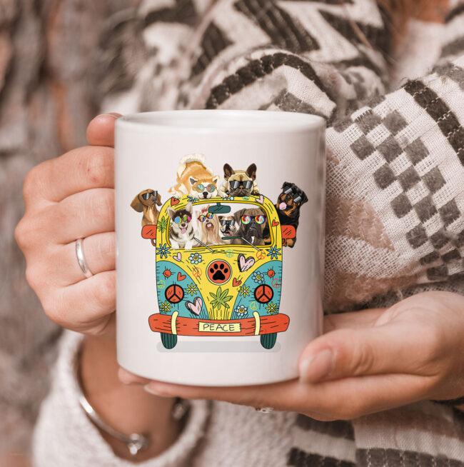 Funny Peace Love Dogs Hippie Van CoffeeMugs Summer Gifts Mug 3