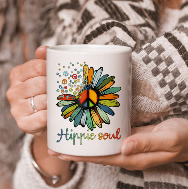 Daisy Peace Sign Hippie Soul TCoffeeMug Flower Lovers Gifts Mug 3