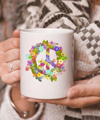Peace Sign Hippie Wreath CoffeeMug Boho Hippie Gift PEACE & LOVE Mug 5