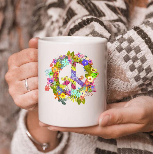 Peace Sign Hippie Wreath CoffeeMug Boho Hippie Gift PEACE & LOVE Mug 3