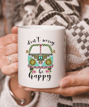 Dont Worry Be Happy Hippie Camping Van Car Mug 5
