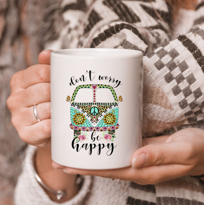 Dont Worry Be Happy Hippie Camping Van Car Mug 3