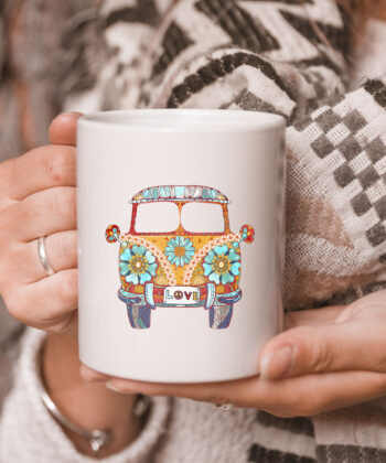 Vintage 1960s Hippie Micro Bus Van Gift Mug 5