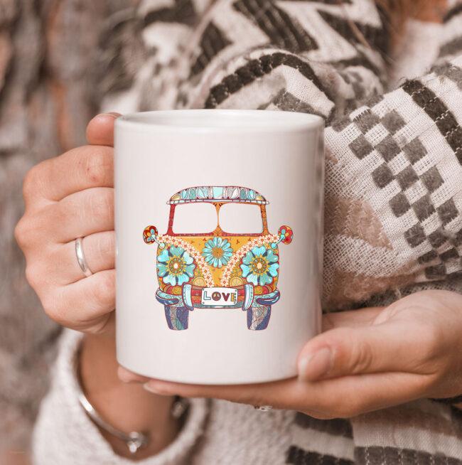 Vintage 1960s Hippie Micro Bus Van Gift Mug 3