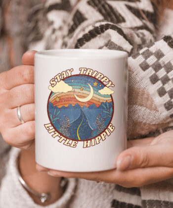 Stay Trippy Little Hippie Funny Peace Love Hippy Gift Mug 5
