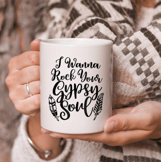 I Wanna Rock Your Gypsy Soul Hippie Vintage Style Girl mug 3
